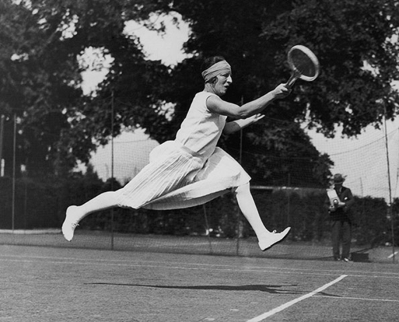 French tennis player Suzanne Lenglen, competing at Wimbledon in 1926. .   Photograph  Central Press/Getty Images