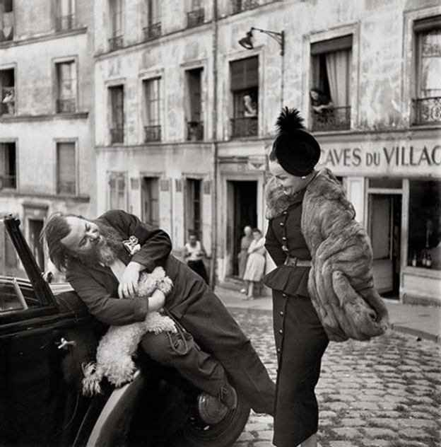 Richard Avedon, Christian Bérard and Renée, suit by Dior, Paris, August 1947