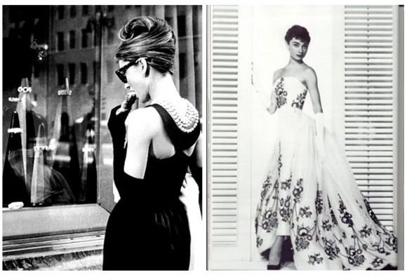 Hubert de Givenchy dressed Audrey Hepburn throughout the 1950s including her two films, Breakfast at Tiffanies and Sabrina.