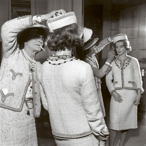 Coco Chanel (left) with actress Romy Schneider in Paris, France, in 1960