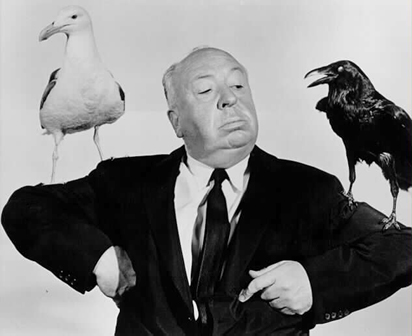 Alfred Hitchcock promoting his film, The Birds.