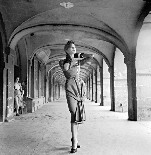 Bettina in day dress by Jacques Fath, photo by Willy Maywald, Place des Vosges, Paris, 1950