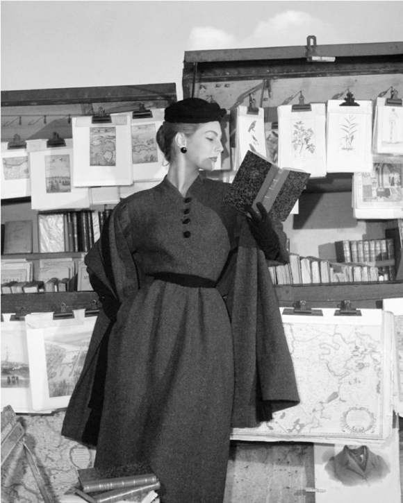 Fionna Campbell- Walter at the Bouquinistes, For ELLE Winter Collection, Paris 1953