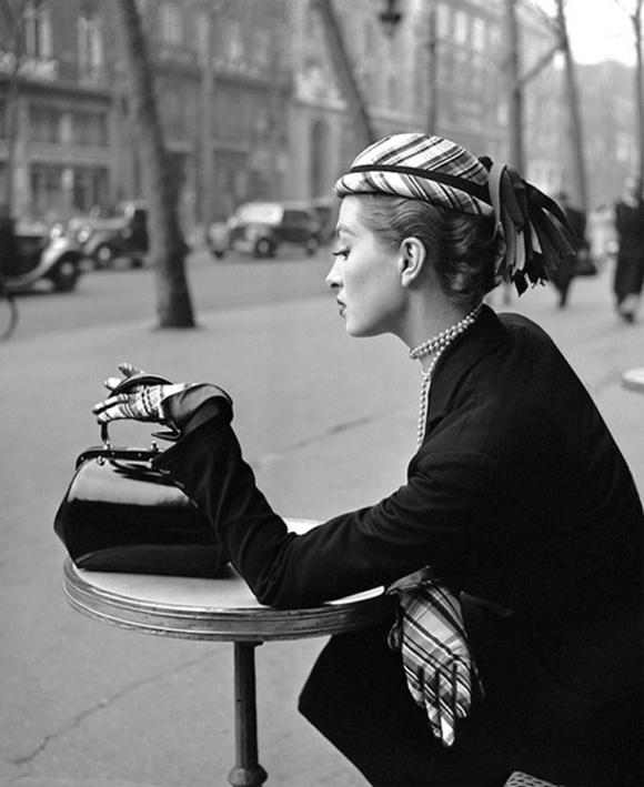 Capucine, Café de la Paix, Paris, 1952   by Georges Dambier , Elle Magazine